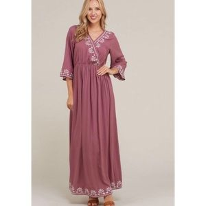 Charlotte Embroidered Maxi Dress (Nursing Friendly